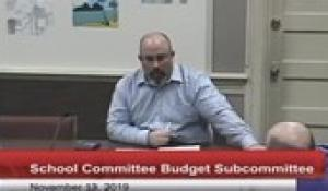 North Attleborough School Committee: Budget Subcommitee - November 14, 2019